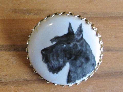 Hand painted vintage bone china brooch Scotty Dog.