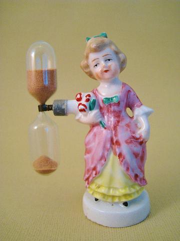 Delightful German porcelain 1920/30's figural egg timer, great condition.